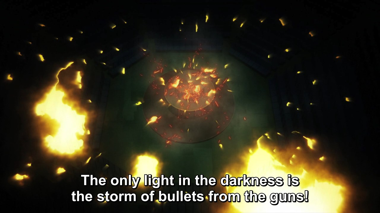The only light in the darkness is the storm of bullets from the guns!